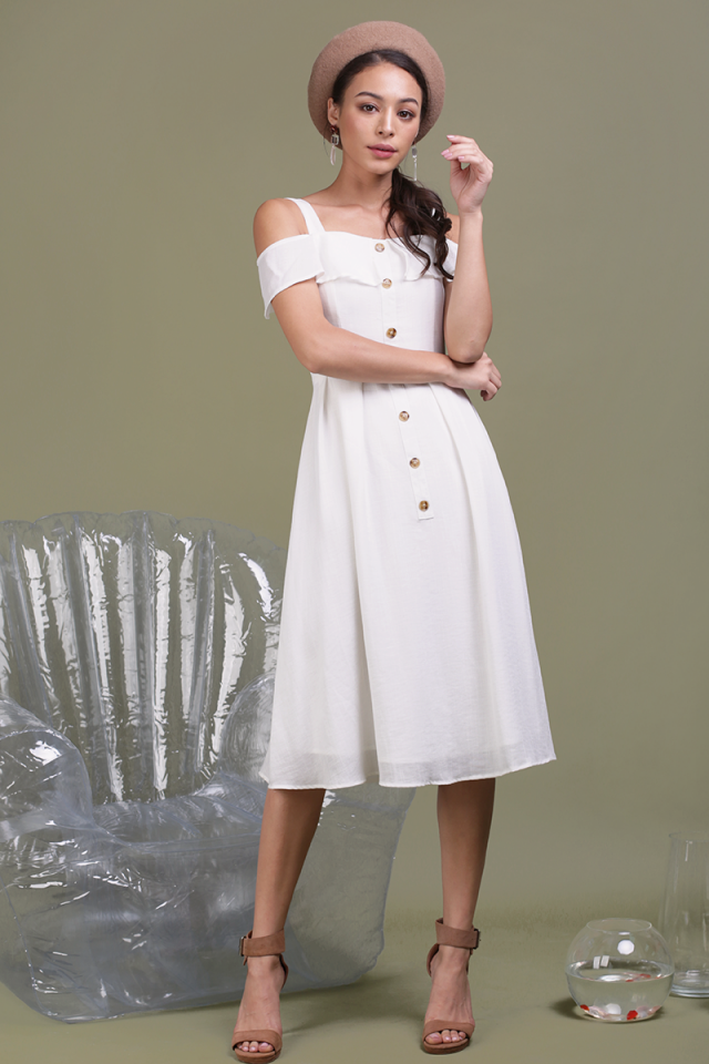Megan Button Down Dress (Off White)
