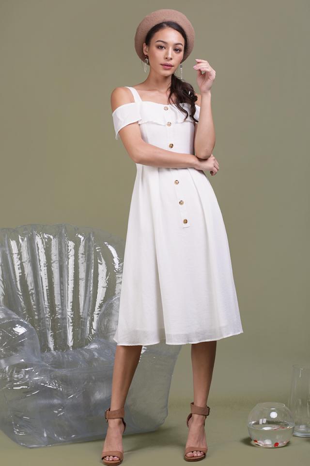 Megan Button Down Dress (Off White)