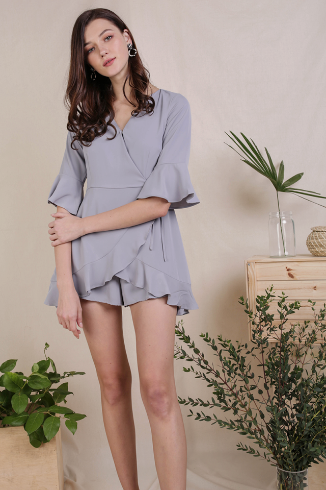 Hyacinth Frilly Romper (Light Grey)