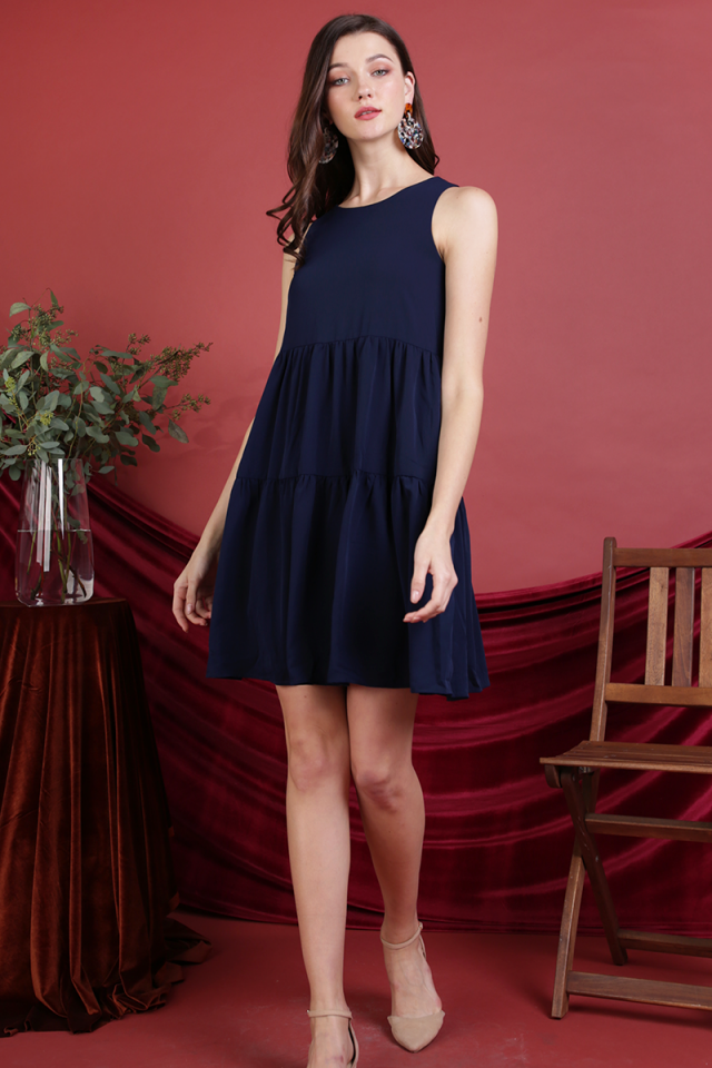 Zoe Babydoll Tiered Dress (Navy)