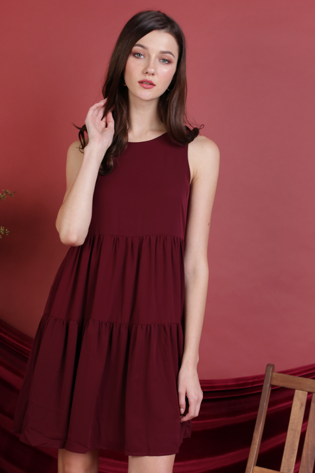 Zoe Babydoll Tiered Dress (Maroon)