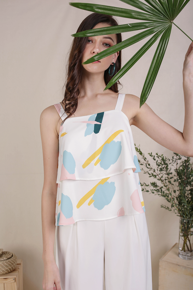 Hena Double Tiered Top (Pastel Abstract)