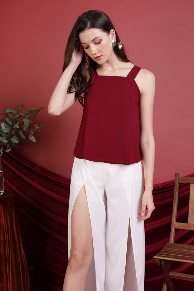 Elena Thick Strap Top (Maroon)