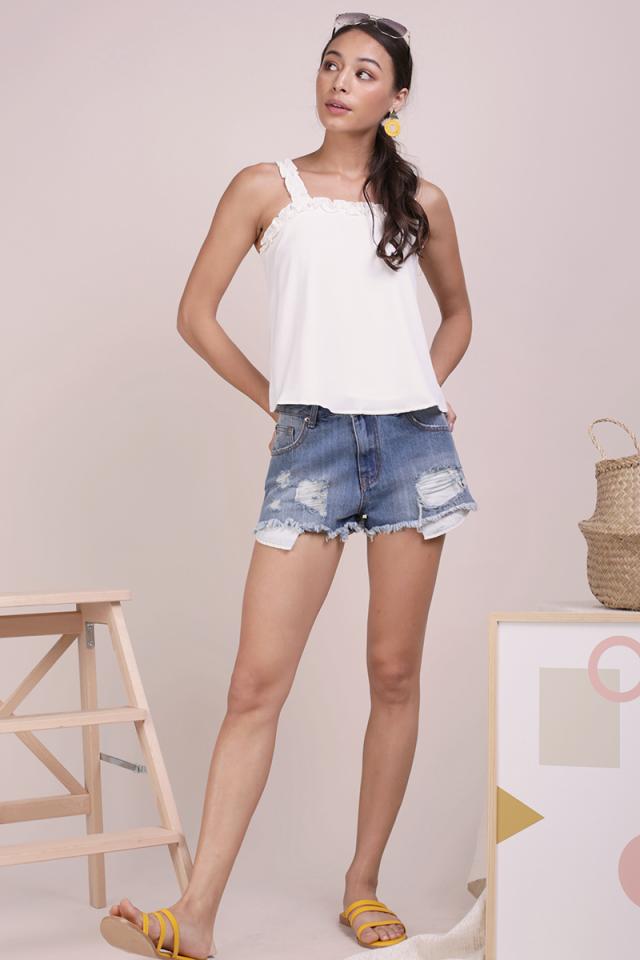 Leanne Ruffles Spag Top (White)