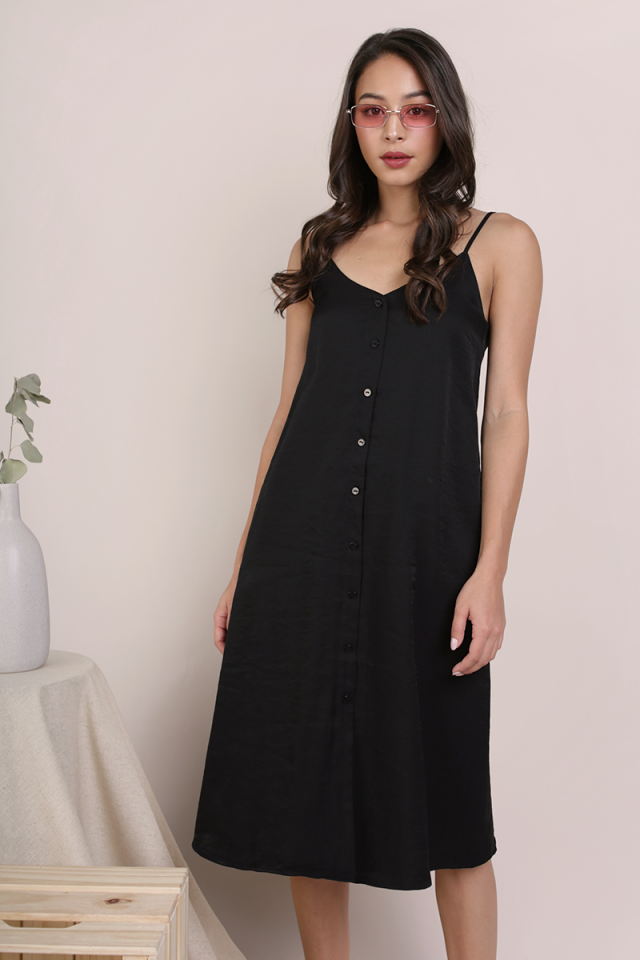 Tris Button Down Midi Dress (Black)
