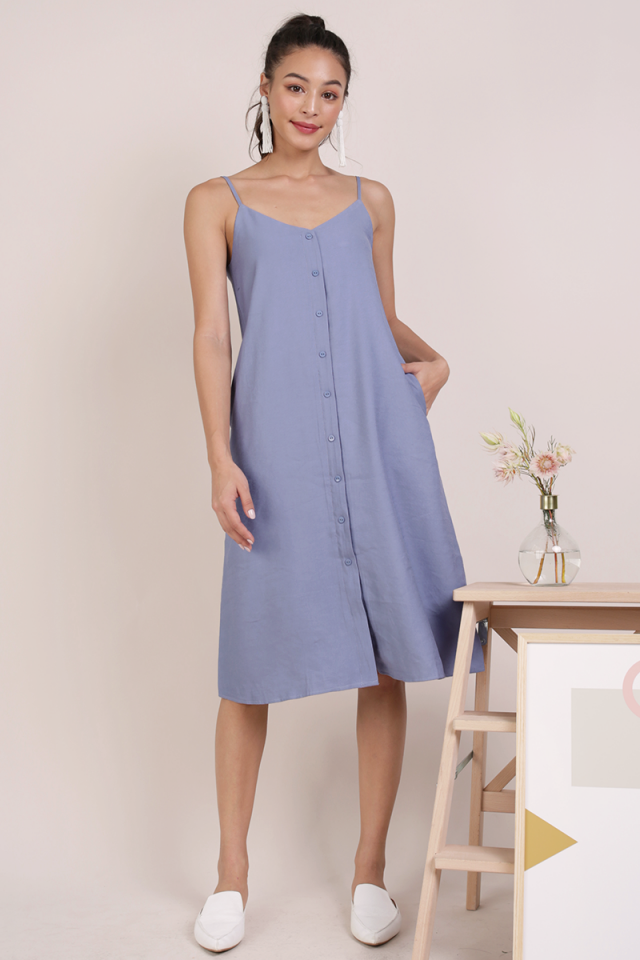 Tris Button Down Midi Dress (Periwinkle)