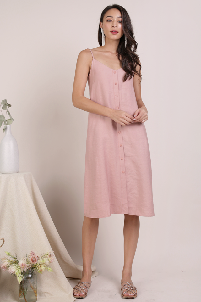 Tris Button Down Midi Dress (Pink)