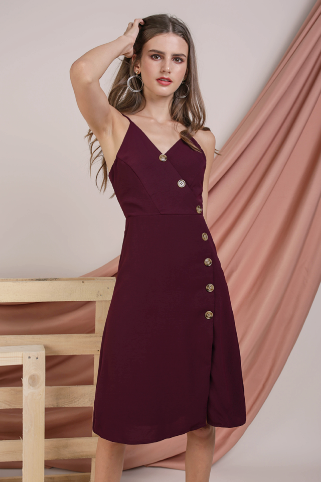 Becca Button Spag Dress (Plum)