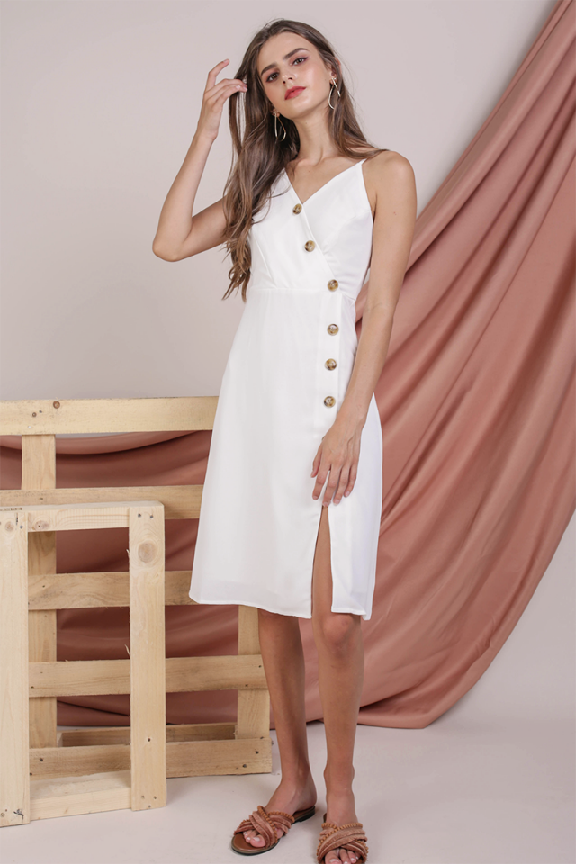 Becca Button Spag Dress (White)