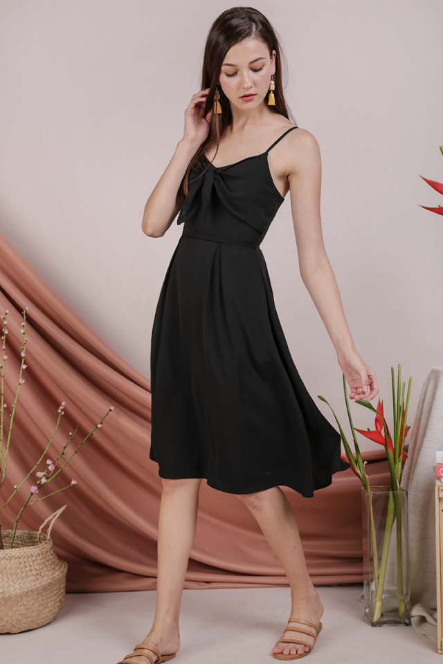 Faith Tie Front Dress (Black)