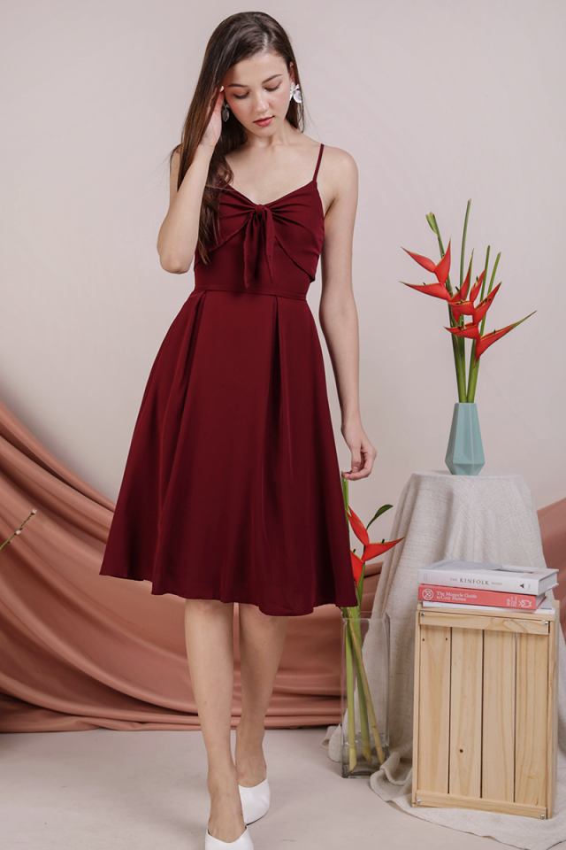 Faith Tie Front Dress (Maroon)