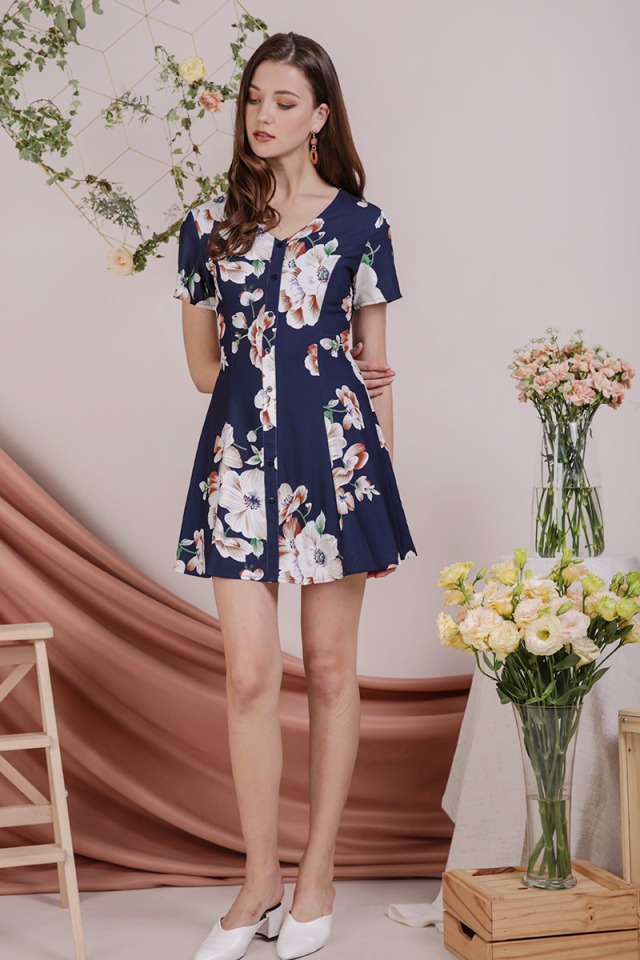 Rico Button Dress (Navy Florals)