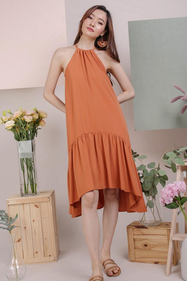Ida Halter Midi Dress (Amber)