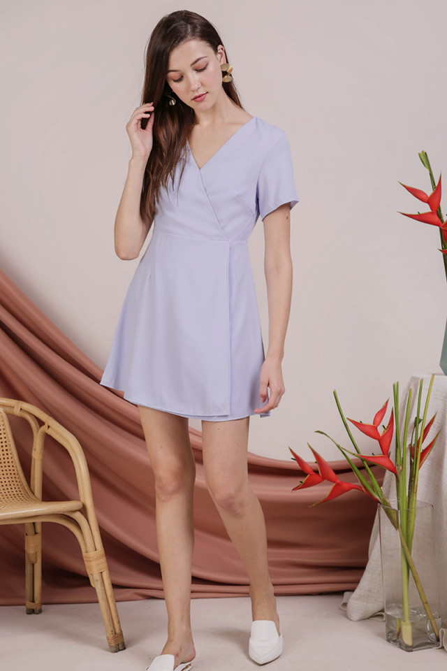 Aiden Wrap Front Dress (Periwinkle)