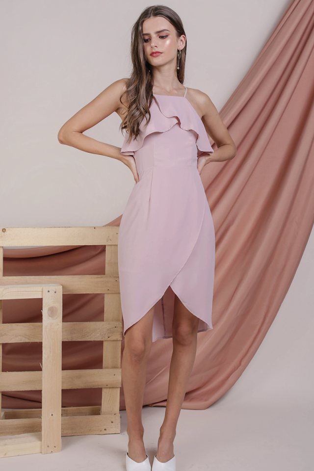 Liz Ruffles Dress (Blush Pink)