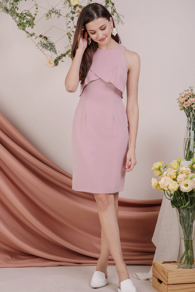 Kay Overlap Midi Dress (Blush Pink)