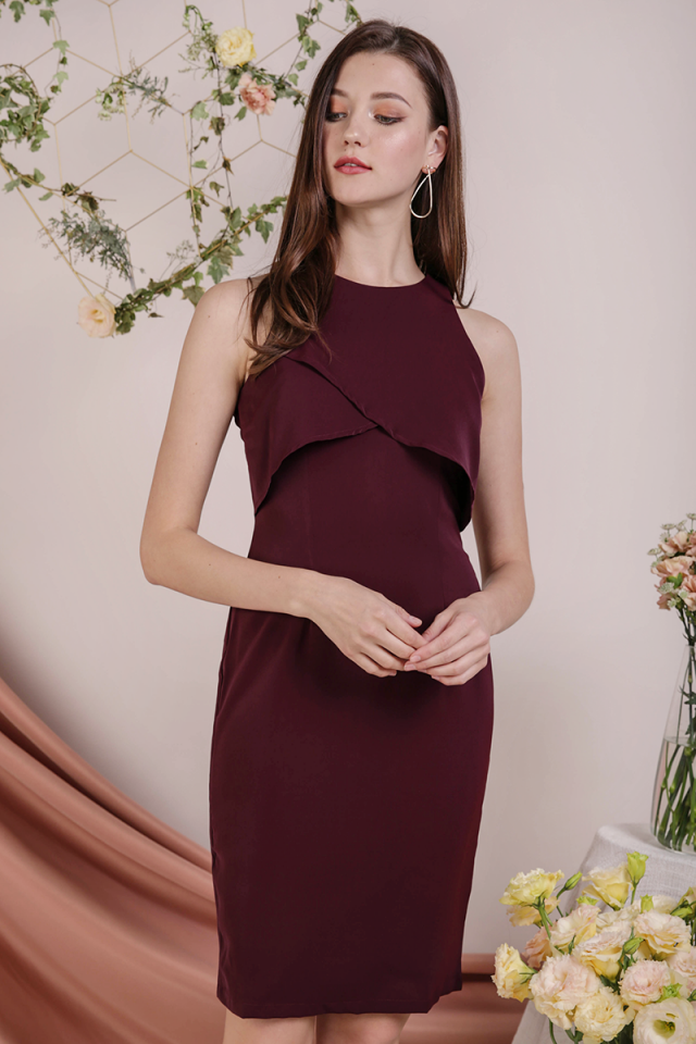 Kay Overlap Midi Dress (Plum)