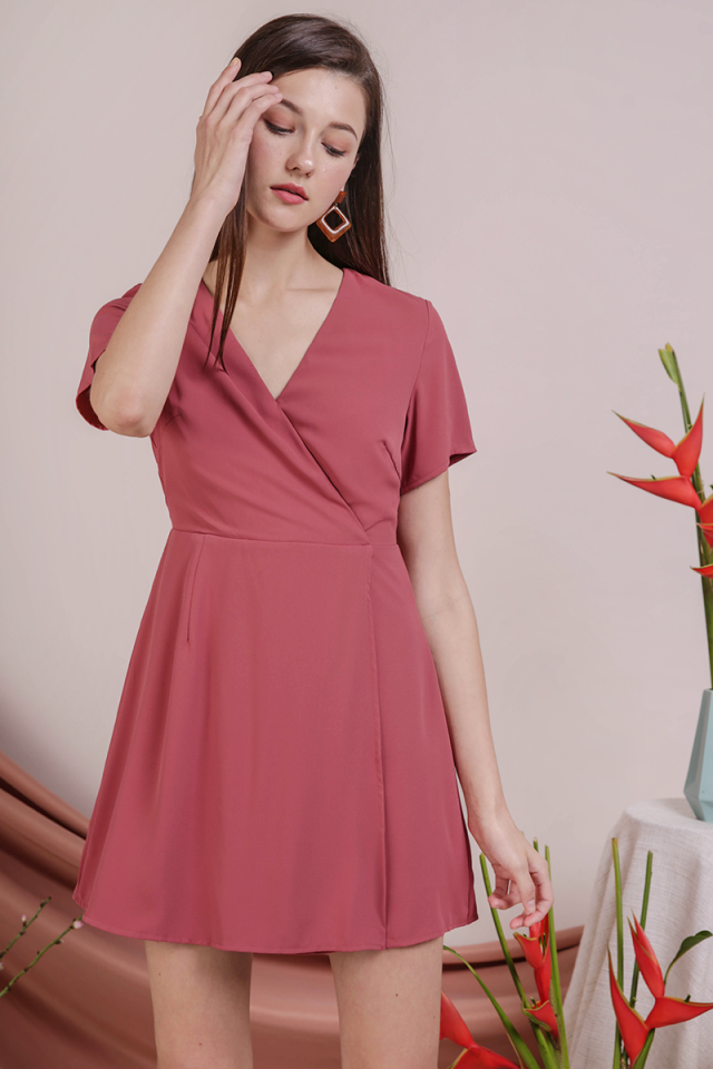 Aiden Wrap Front Dress (Rose)