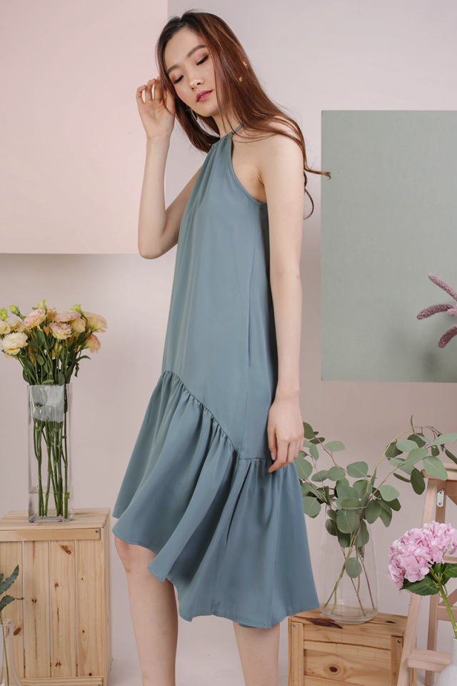 Ida Halter Midi Dress (Cerulean)