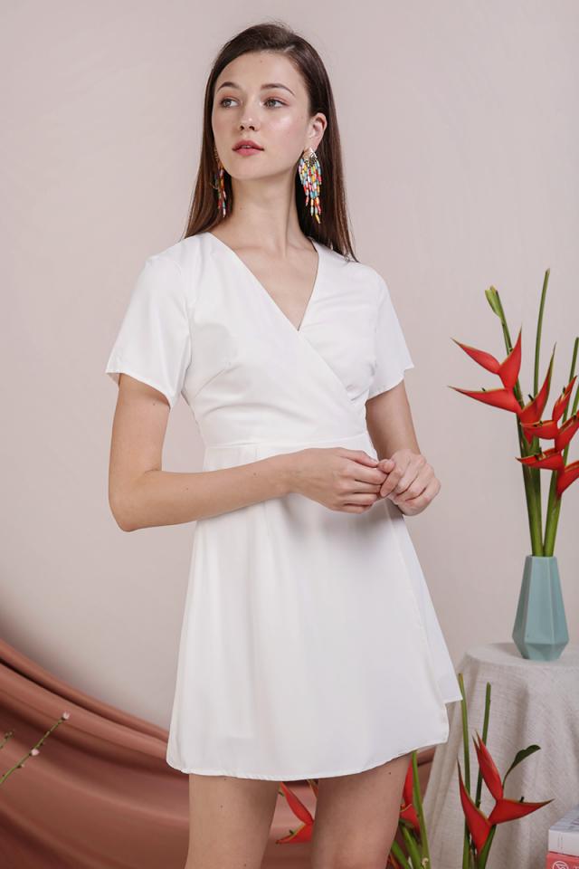 Aiden Wrap Front Dress (White)