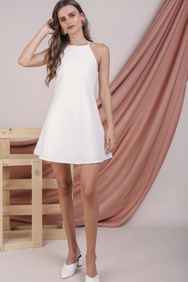 Cathy Halter Flare Dress (White)