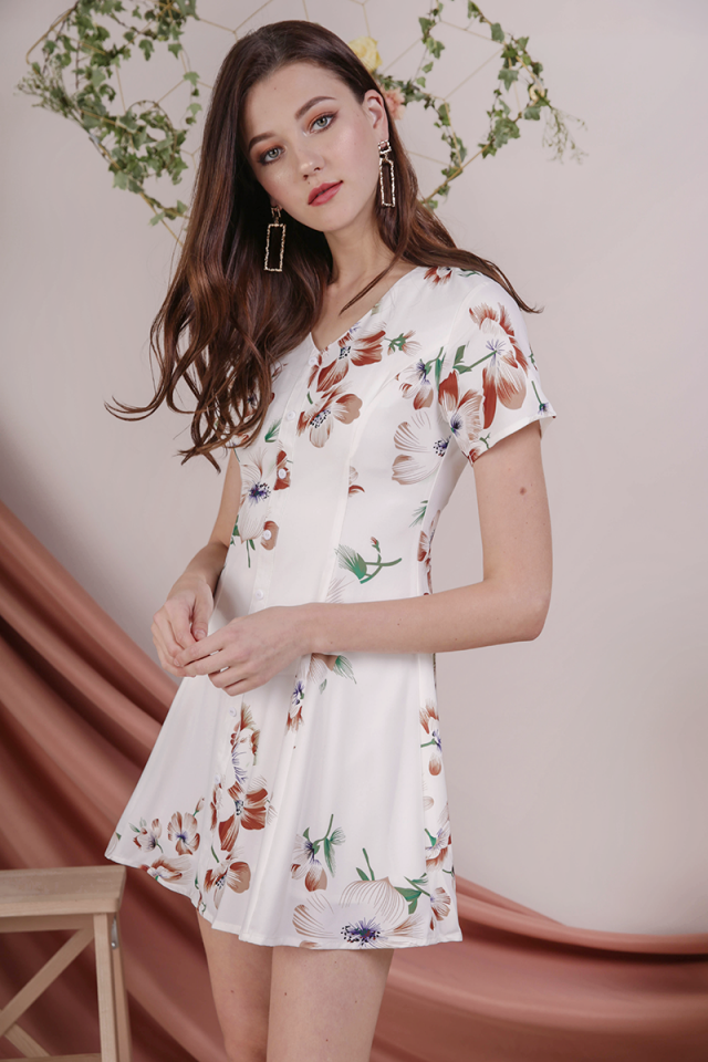 Rico Button Dress (White Florals)