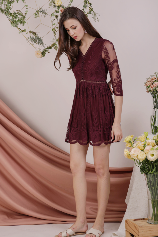 Sierra Mesh Embroidery Dress (Burgundy)