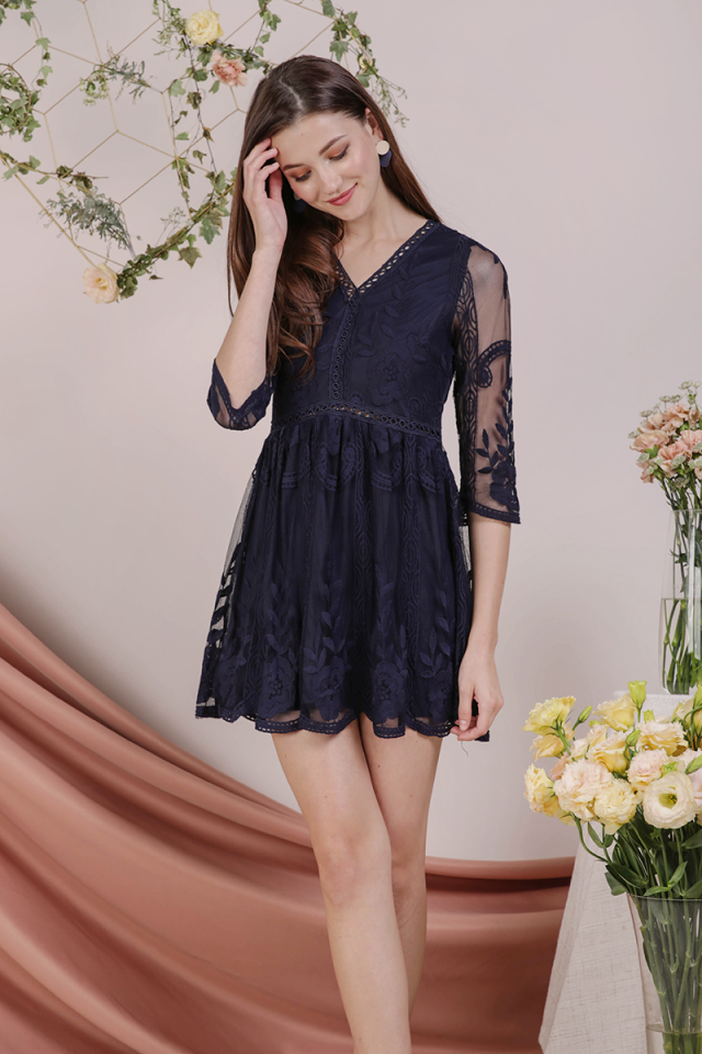 Sierra Mesh Embroidery Dress (Navy)
