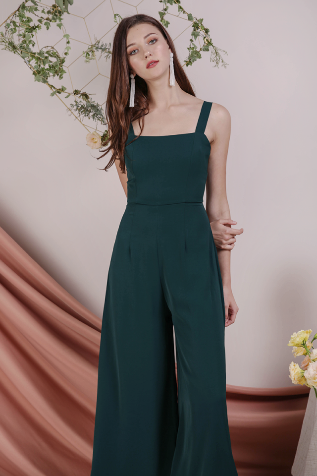 Donna Wide Leg Jumpsuit (Forest Green)