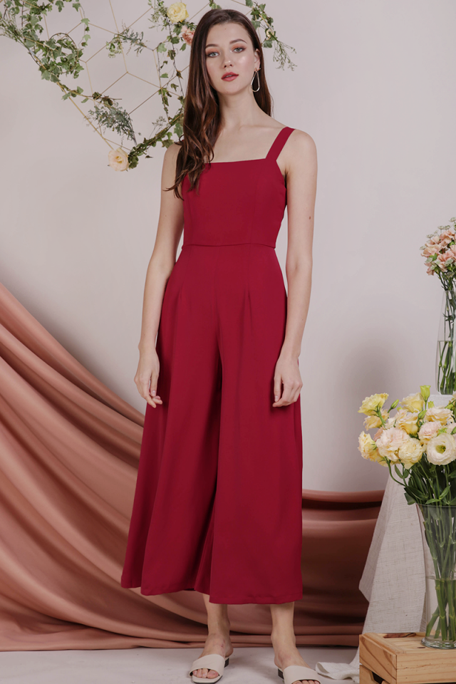 Donna Wide Leg Jumpsuit (Cherry)