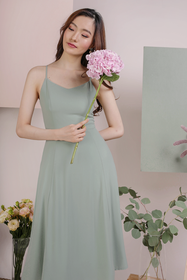Kino V Neck Midi Dress (Seafoam)