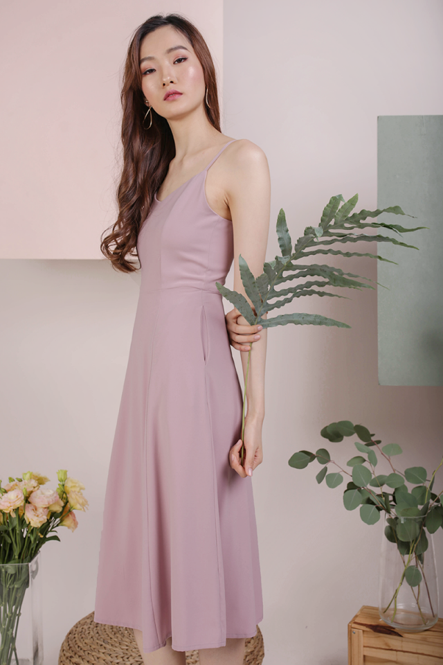 Kino V Neck Midi Dress (Pink)