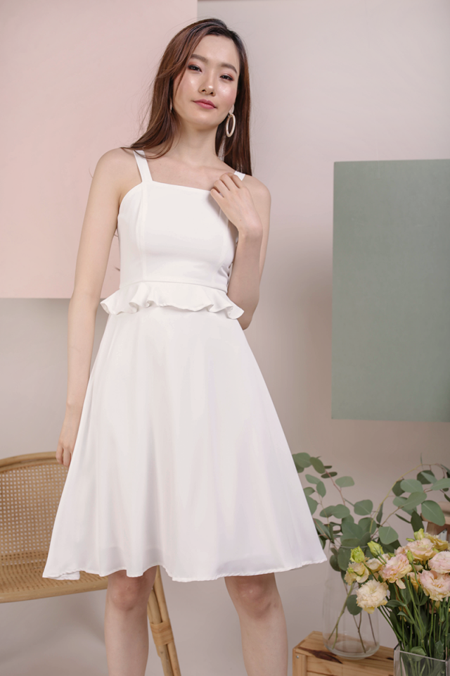 Deana Peplum Dress (White)