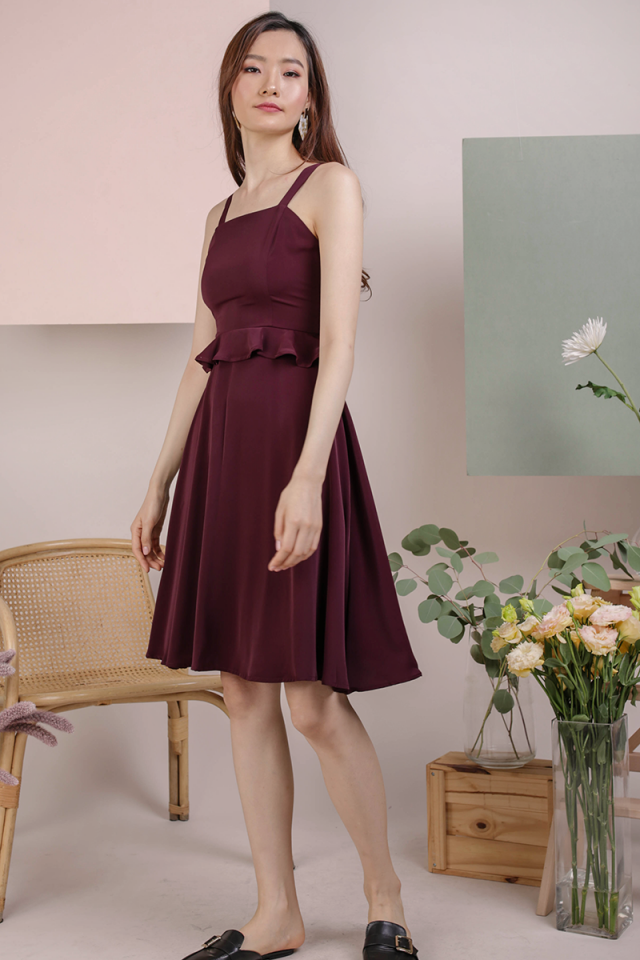 Deana Peplum Dress (Plum)