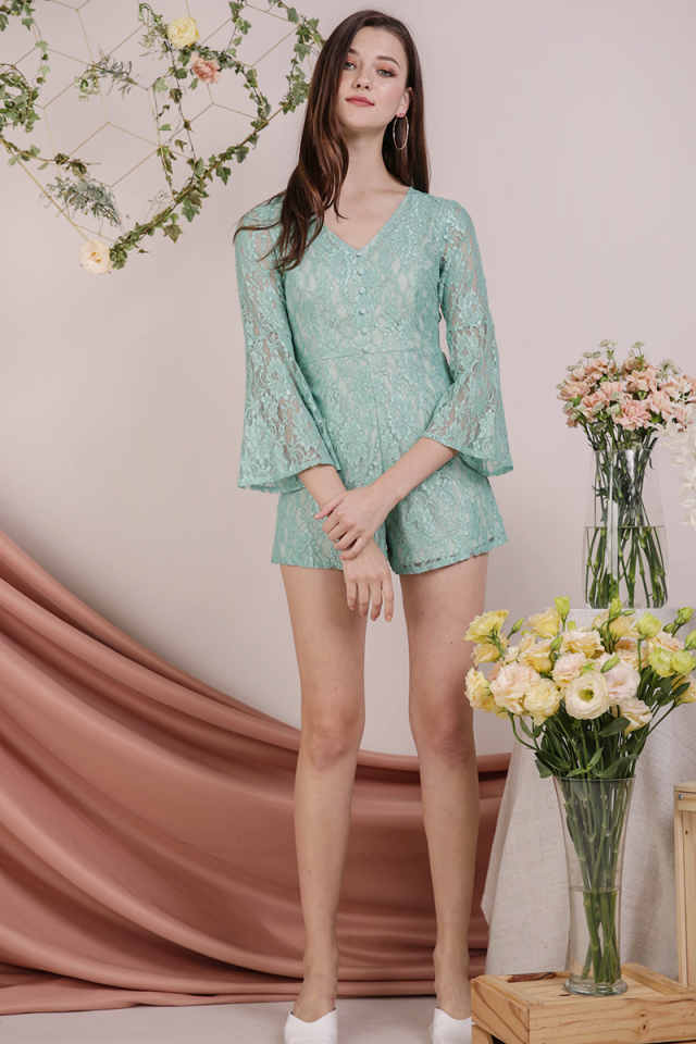 Mandy Lace Romper (Mint)