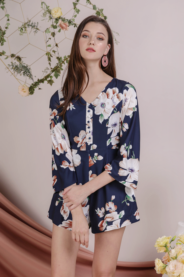 Tania Flare Sleeve Romper (Navy Florals)