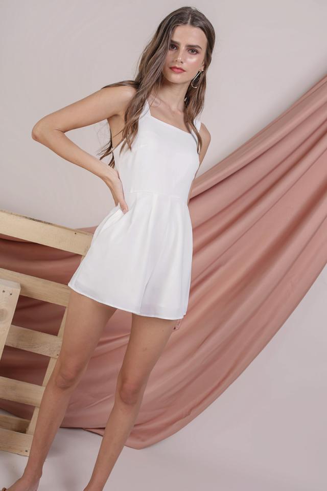 Vivienne Flare Romper (White)
