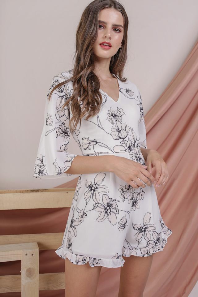 Adelle Bell Sleeve Romper (White Magnolia)