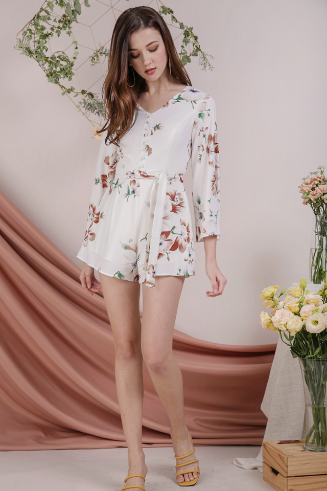 Tania Flare Sleeve Romper (White Florals)