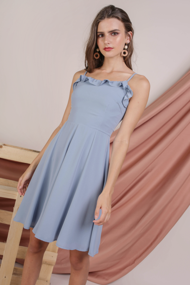 Diane Ruffles Dress (Dusty Blue)