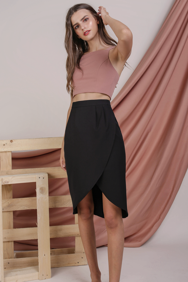 Claris Wrap Front Skirt (Black)