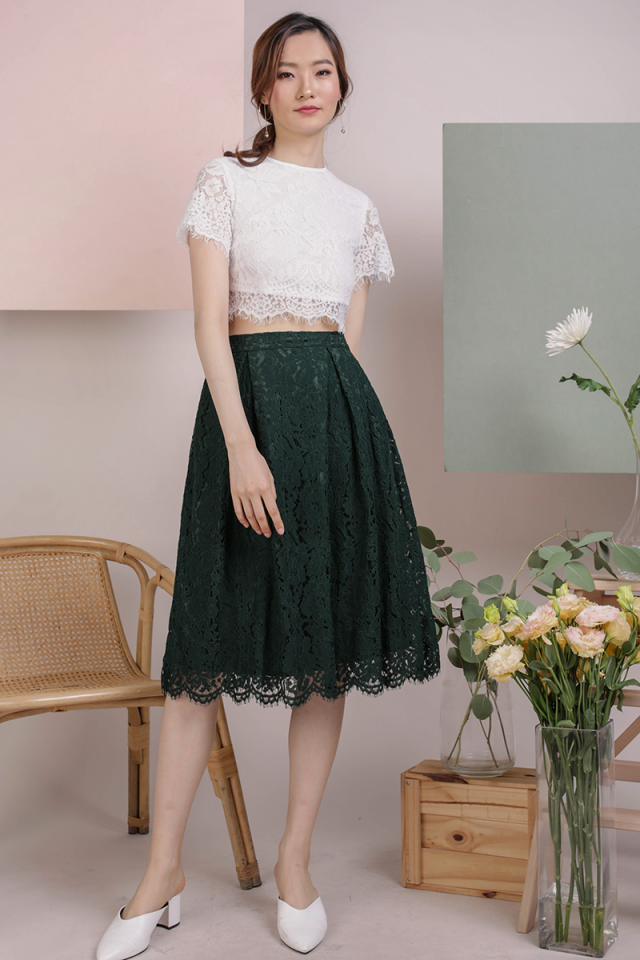 Cole Lace Skirt (Forest Green)