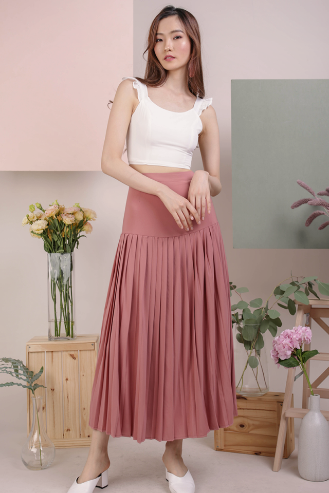 Sue Pleated Skirt (Dusty Rose)