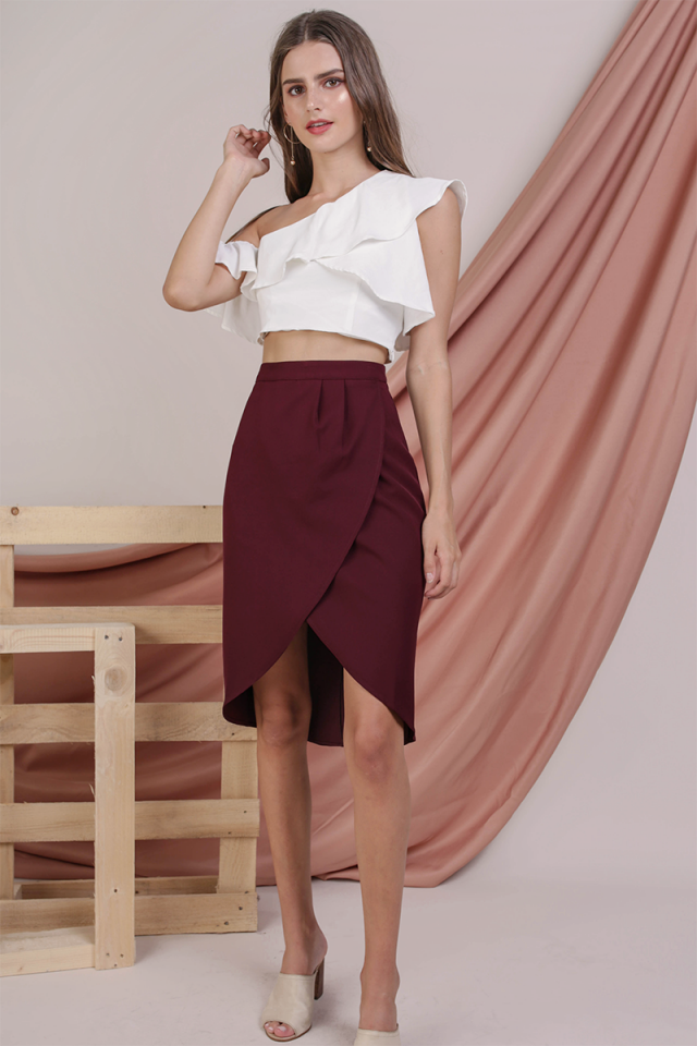 Claris Wrap Front Skirt (Maroon)