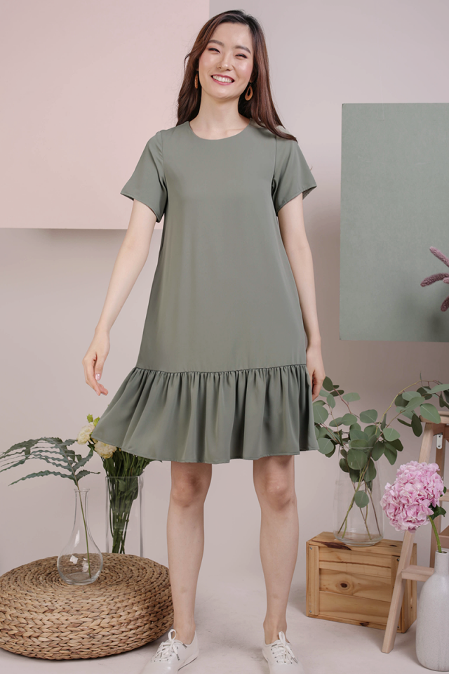 Mae Drop Hem Dress (Sage Green)