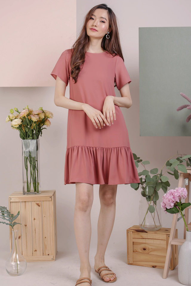 Mae Drop Hem Dress (Dusty Rose)