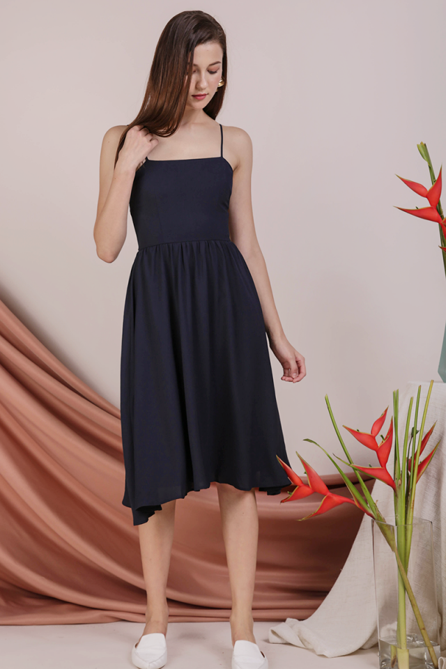 Leora Spag Flare Dress (Navy)