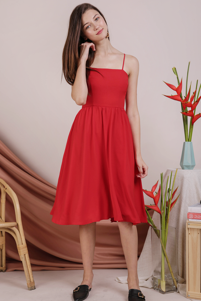 Leora Spag Flare Dress (Red)