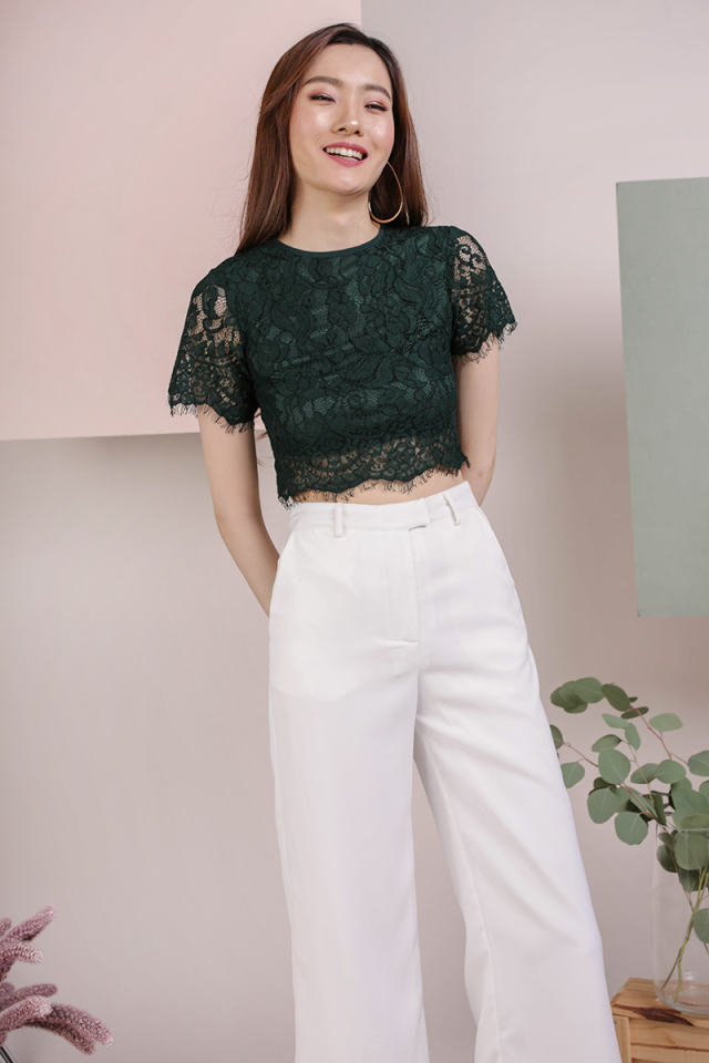 Pam Lace Top (Forest Green)