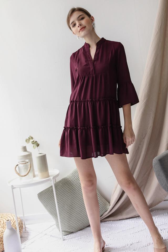 Dorina Babydoll Dress (Plum)